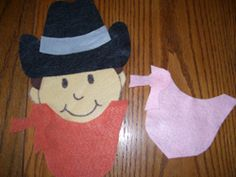 Cowboy Colored Bandana Rhyme        Print the patterns.  Use them to cut the patterns from felt making several   bandanas in a variety of colors.  Glue the head, hair and cowboy hat   together.  Use a sharpie marker to add facial features.  Put the cowboy   on the bulletin board, put a bandana on him as you sing the following song:    Cowboy Wore a Colored Bandana  Tune:  Mary Wore a Red Dress    Cowboy wore a red bandana, red bandana, red bandana.  Cowboy wore a red bandana all day long.    con