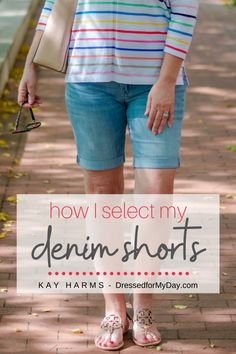 The best denim shorts - what to look for in denim shorts - how to style denim shorts - styling jean shorts for women over 50 - wearing jean shorts over 50 Denim Short Dresses, Short Outfits, Over 50 Womens Fashion, Fashion Over 50, Summer Shorts Outfits, Summer Denim, Denim Fashion, Fashion Tips, Summer Fashions