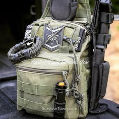 Our  14.95 Fight or Flight Tactical Sling bag with CCW pouch hanging on the  truck bed 4a257db4ed
