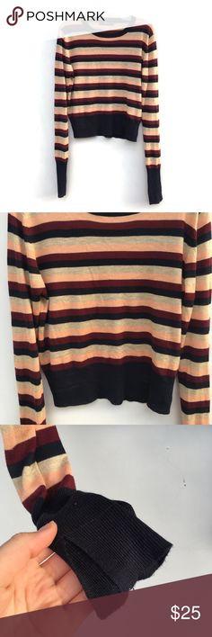 ❗️1 HR SALE❗️Zara Multi Colored Striped Sweater Multi colored striped sweater by Zara. Small hole in the back of the sweater as pictured. Zara Sweaters Crew & Scoop Necks