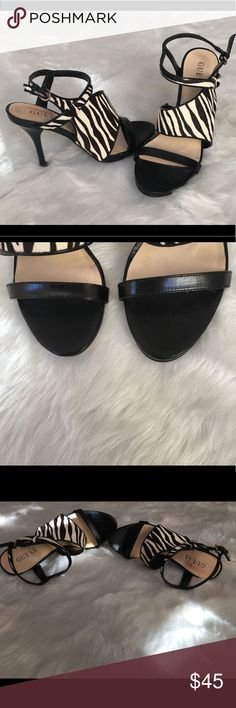 Guess Pony Hair Heels Guess Zebra pony hair heels    light wear, but insole on right for has imperfections - not noticeable when worn   Please pay attention to the photos   size 6.5 will also be available in my closet shortly Shoes