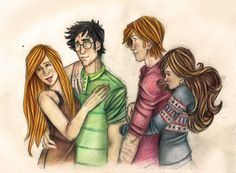 Harry and Ginny, Ron and Hermione