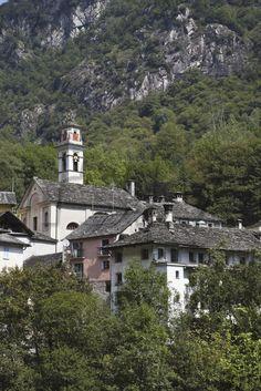 Switzerland, View of historic village Prato Sornico in Lavizzara Valley. License this photo for your usage through www.kursiv.com