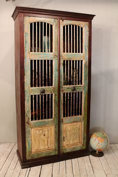 Rustic Reclaimed Green Turquoise Distressed Handmade Antique Indian Wood Teak and Iron Door Storage Bedroom Armoire Cabinet on Etsy, $1,399.00