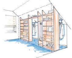 """Idee für einen begehbaren Kleiderschrank im """"Spielzimmer"""". ~ Maybe an idea for a walk-in closet in our old """"playroom""""."""