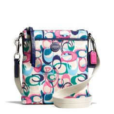 'NWT, Coach Signature Stripe Ikat Print Swingback' is going up for auction at  4pm Sun, Jul 21 with a starting bid of $1.