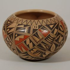 #adobegallery - Hopi Polychrome Jar with Elaborate Decoration by Rondina Huma (1947 – present)