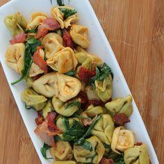 BLT Tortellini Recipe Main Dishes with cheese tortellini, bacon, sun-dried tomatoes, arugula