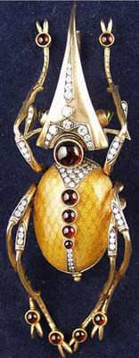 Very large c. 1900's European Art Nouveau Object of Vertu Beetle Brooch  Gold, guilloche enamel, cabuchon rubies and pave set diamonds