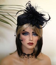 Kentucky  Derby Hat. Black  Fascinator for Del by AnnettesCouture, $178.00