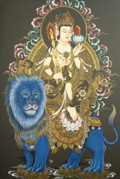 Mañjuśrī is depicted as a male Bodhisattva wielding a flaming sword in his right hand, representing the realization of transcendent wisdom which cuts down ignorance and duality.