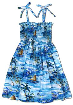1ca163b1a7 Islanders Small   Young Girl s Smocked Sundress created in Blue.
