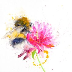 Contemporary print of my original watercolour BUMBLE BEE 6 Printed using epson Chroma K3 pigments onto archival quality 190 gsm paper. by JenBuckleyArt on Etsy https://www.etsy.com/listing/243230119/contemporary-print-of-my-original