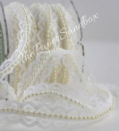 """Ivory Lace Ribbon Pearl Center, 3/4"""" wide, Ribbon by the yard, Lace Trim, Weddings, Sewing, Wedding Dress, Gift Wrap, Baby, Trim, Sewing"""