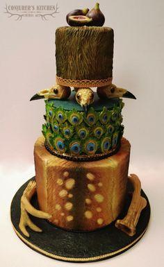 Conjurer's Kitchen: Let Them Eat Cake (Shaped Like Fetal Skulls)! Peacock Wedding Colors, Peacock Wedding Cake, Gorgeous Cakes, Amazing Cakes, Wedding Desserts, Wedding Cakes, Peacock Cake, Cake Shapes, Cakes For Men