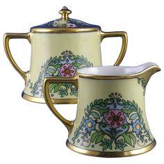 """William Guerin (WG&Co.) Limoges Arts & Crafts Floral Motif Creamer & Sugar (Signed """"Mayme Gatema""""/c.1900-1932)"""