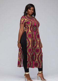 Eshe African Print Stretch Maxi Tee with Side Slits (Pink Golden Circles) - African fashion African Fashion Ankara, Latest African Fashion Dresses, African Inspired Fashion, African Dresses For Women, African Print Fashion, African Attire, Nigerian Fashion, Ghanaian Fashion, Gowns For Ladies
