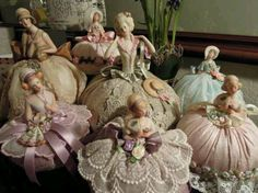 Pretty half doll pin cushions I have one in need of repair. she is dated These give me ideas of how to fix her dress :) RA Antique Dolls, Vintage Dolls, Sewing Crafts, Sewing Projects, Vintage Sewing Notions, Half Dolls, Doll Head, Sewing Accessories, Vintage Pins