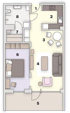 Půdorys: 1. předsíň, 2. kuchyň, 3. jídelna, 4. obývací pokoj, 5. terasa, 6. ložnice, 7. sauna, 8. koupelna Podlahová plocha: 58 m2