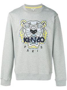 Kenzo Tiger AppliquÉ Sweatshirt In Grigio Kenzo, Grey Sweatshirt, Graphic Sweatshirt, Tiger, Mens Sweatshirts, Paris Fashion, Women Wear, Fashion Design, Outfits