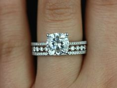 Marcelle & Petite Bubble Breathe 14kt Gold Cushion FB Moissanite and Diamonds TRIO Wedding Set (Other metals and stone options available)