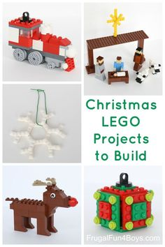 Five Christmas LEGO Projects to Build - With Instructions!  Train ornament, nativity set, snowflake ornament, Rudolph, and cube ornament.  The post has links to more Christmas ideas too.