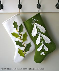 mmmcrafts: Mistleholly felt stocking pattern now available! Also an etsy sale! **I would make the toe larger and rounder. Christmas Sewing, Noel Christmas, Christmas Ornaments, Christmas Felt Crafts, Green Christmas, Diy Christmas Stocking Pattern, Baby's First Christmas Stocking, Easy Felt Crafts, Classy Christmas