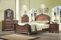 Roundhill Furniture Huat Crowning Rustic 5-Piece Wood Bedroom Set with Bed, Dresser, Mirror, Nightstand, Chest, Queen, Cherry *** Visit the image link more details.