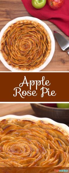 Perfect for holiday entertaining, this apple rose pie is as delicious as it is beautiful. And it's easier to make than it might look. Layers of sliced cinnamon coated apples take center in this stunning apple pie. Click to get the recipe and give it a try! #applepie