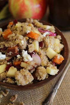 Roasted Sweet Potato Quinoa Salad with apple, cranberries, goat cheese, and maple-orange dressing by doreen.m