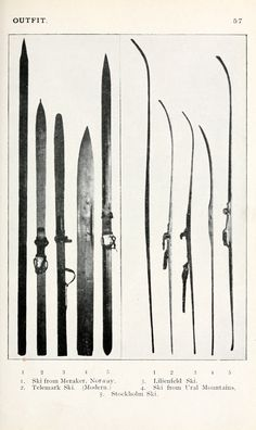 Various old wood skis. This is from the wide. Nordic Skiing, Alpine Skiing, Snow Skiing, Xc Ski, Vintage Ski Posters, Ski Decor, Cross Country Skiing, Winter Fun, Kayaking