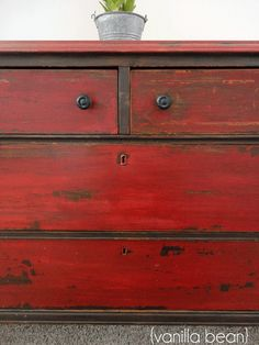 Milk paint Love the red .From a First-Timer: Three Tips for Using Miss Mustard Seed's Milk Paint Red Painted Furniture, Milk Paint Furniture, Repurposed Furniture, Shabby Chic Furniture, Red Distressed Furniture, Furniture Makeover, Diy Furniture, Bedroom Furniture, Luxury Furniture