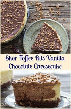Vanilla and Dark Chocolate make this Homemade Vanilla Chocolate Cheesecake the Best Decadent Dessert.Perfect sprinkled with Skor Toffee Bits. via @https://it.pinterest.com/Italianinkitchn/