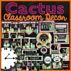 Cactus Classroom Decor features cacti and succulents with chalkboard and shiplap accents for a shabby chic or farmhouse themed classroom! This set includes alphabet posters in print and cursive, calendar set with birthday display, word wall cards, pennant banners, binder