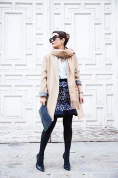 Bicolor Clutch, blue shirt, Camel Coat, Embroiderd Skirt, camel coat, floral Skirt