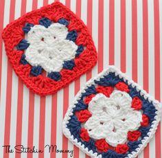 Crochet Star Granny Squares www.thestitchinmommy.com