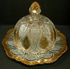 1900 US Glass Co. New Jersey Drop Loop Butter Dish