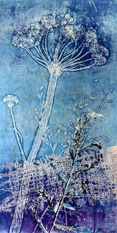 Sandra Pearce: Playing with monoprints - interesting technique, she uses real plants to get the initial image