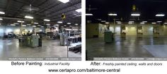 CertaPro Painters Baltimore Central was hired to paint ceiling, walls and doors in an industrial production facility. The client requested the project be completed during off hours, so crews worked from Fri-Sun evening.
