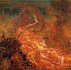 Tableaux sur toile, reproduction de Delville, Satan's Treasures, 258x268cm