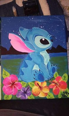 Stitch and flowers painting kmj art & creations on fb