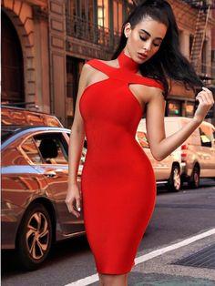 Keaton Red Triangle-Cutouts Bandage Dress