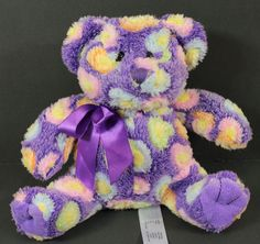 "Animal Adventures Teddy Bear Plush Stuffed Animal Purple with Hearts 7"" in Toys & Hobbies, Stuffed Animals, Other Stuffed Animals 