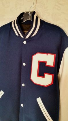 Original Holloway Blue & White Wool CITI Leather Men's Varsity Jacket Size Large #Holloway #VarsityBaseball