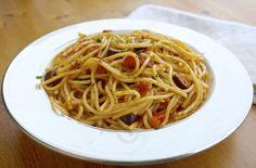 Spaghetti alla puttanesca, substitute  Dreamfield pasta only 5 net carbs per pasta serving.