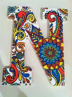 Handpainted wooden letter N by NotSoPlainJaynes on Etsy, $40.00