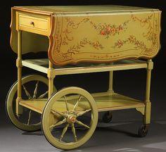 A BAKER FURNITURE HAND PAINTED TEA CART Antique Tea Cart, Drink Cart, Beverage Cart, Tea Trolley, Coffee Carts, Baker Furniture, Diy Home, Home Decor, Tea Service