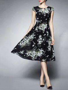 Shop Midi Dresses - Dark Blue Printed Short Sleeve A-line Polyester Midi Dress online. Discover unique designers fashion at StyleWe.com.