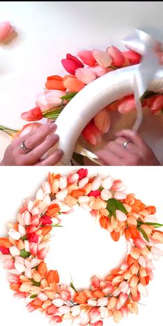 DIY Spring Tulip Wreath Make a pretty DIY Tulip Wreath in less than 30 minutes! Full tutorial for this beautiful spring wreath! Make a pretty DIY Tulip Wreath in less than 30 minutes! Full tutorial for this beautiful spring wreath! Diy Spring Wreath, Spring Crafts, Wreath Crafts, Diy Wreath, Burlap Wreaths, Wreath Making, Easter Wreaths, Holiday Wreaths, Wreath Tutorial