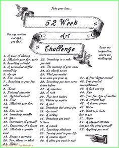 A 52 week art challenge! 1 challenge for every week. Art Journal Pages, Art Journal Prompts, Art Journal Techniques, Journal Ideas, Art Journals, Visual Journals, Art Journal Challenge, 30 Day Drawing Challenge, Sketchbook Challenge